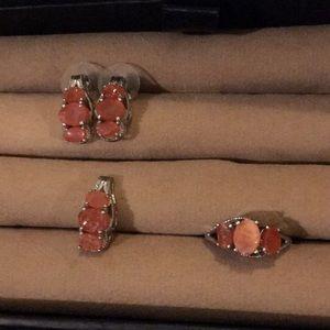Rough cut Jalisco fire opal set